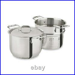 All Clad Stainless Steel 6 Quart Pasta & Stock Pot + Lid & Strainer