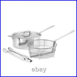All-Clad d5 Stainless-Steel Deep 6-Qt. Sauté Pan with Fry Basket & Tongs