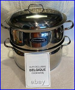 BELGIQUE PROFESSIONAL 18/10 Stainless Steel 6qt Large Stock Pot With Steamer