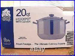 BRAND NEW ROYAL PRESTIGE 20QT STOCK POT T304 9 PLY SURGICAL STAINLESS STEEL