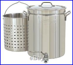 Bayou Classic 1140 Stainless 10 Gallon Steam Boil Stock Pot With Spigot Basket