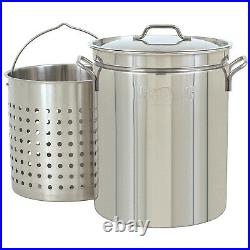 Bayou Classic 44 Quart Stainless Steel Kitchen Stock Pot with Steamer Basket