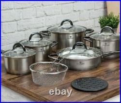Blaumann Gourmet 12Pc Cookware Set Stainless Steel Induction Pots & Frying Pan
