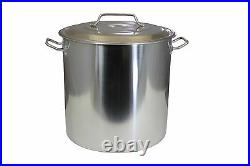 CONCORD 30 QT Stainless Steel Stockpot Brew Kettle with Lid. Heavy Cookware