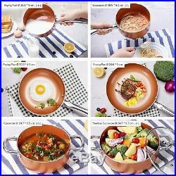 CUSIBOX Cookware Set Pan & Pot Set 10 Piece, Stock Pot, Saute Pan, Saucepan, G