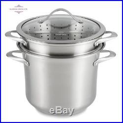 Calphalon 8 Qt Multi-Pot Cookware Cook Steam Drain Stainless Steel Stock Pot Set