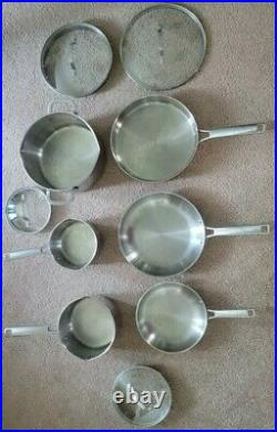 Calphalon Classic Stainless Steel Pots & Pans 10-Piece Cookware Set USED
