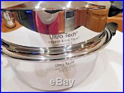 Carico Ultra Tech 6 Qt Stock Pot & Dome LID T304ss Stainless Waterless USA