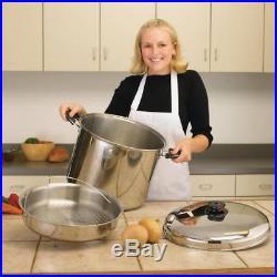 Cookware Precise Heat 30Qt 12-Element Waterless Stockpot With Steamer Basket