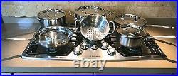 Cuisinart Cookware Set Lids Stainless Steel Cooking Fry Pan Pot Stock 10 Piece