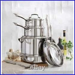 Cuisinart Cookware Set Lids Stainless Steel Cooking Fry Pan Pot Stock 12 Piece