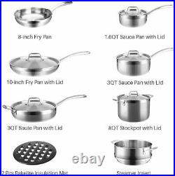 Duxtop Whole-Clad Tri-Ply Stainless Steel 14Piece Premium Induction Cookware Set