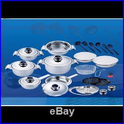 Erikachef Cocina 30pcs Cookwares Premium Set Stainless Steel 18/10 Pan Steamer