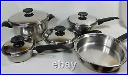 FLAVORITE Waterless Cookware Thermium Multi-Plex Stainless Steel 9 Pc Pan Lot