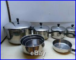 Farberware Stainless Aluminum Clad 12 pc Set Skillet Sauce Stock Pot Bowl USA