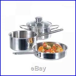 Fissler Appetizer-Set, Pot, Pans Steel Casserole Stock Pot Stainless Steel 3 PCs