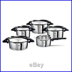 Fissler Intensa Set, Roasting & Cooking Pot Steel Casserole Stock Pot 5PCs Black