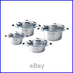 Fissler Solea Pot Set, Stock Frying Pot, Cooking Pot, Stainless Steel, Lid 4-PCs