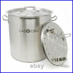 Gas One 100 Quart Stainless Stock Pot with Lid & Steamer rack Tamale Beer Brewing