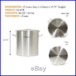 Gas One Stainless Steel Stock Pot with Steamer 10 Gallon with lid