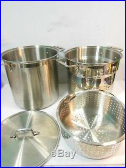 Genuine All-Clad 12 Quart Stainless Steel Pasta Stock Pot With Strainer Inserts