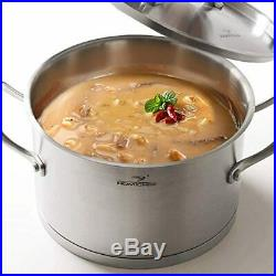 HOMI CHEF Matte Polished NICKEL FREE Stainless Steel 3.5 QT Stock Pot with Lid