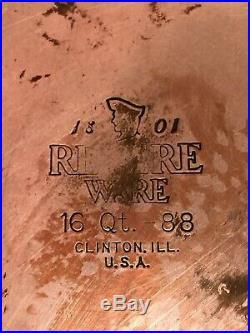 HUGE 16 QT Vintage Revere-Ware Copper Bottom Stainless Steel Stock Pot & Lid USA