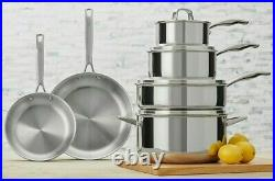 Henckels 10 piece Tri Ply 18/10 Stainless Steel Cookware Set Saute Fry Pans