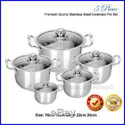 Hob 5pc Stainless Steel Cookware Stockpot Pot Casserole Set Glass Lids