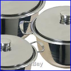 Induction Hob 6pc Stainless Steel Casserole Stockpot Pot Steel Lids Cookware Set