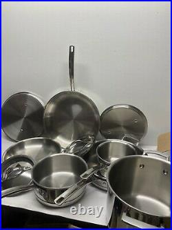 Kirkland Signature 10 Piece 5-Ply Clad Stainless Steel Cookware Set #2 (1580)