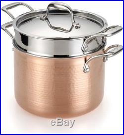 Lagostina Martellata 6 Qt. Hammered Copper Tri-Ply Pasta Set