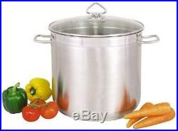 Large Deep Stainless Steel Cooking Stock Pot Casserole Glass Lid CATERING