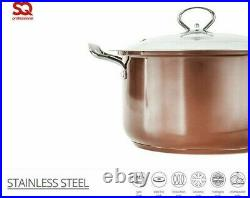 Large Stainless Steel 4pc Stockpot Casserole Cooking Pot Pan Lid Set Copper