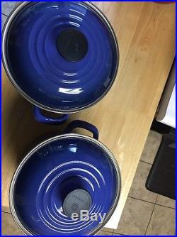 Le Creuset Stock Pot Blue Enameled Cobalt Marseille Quart Stockpot Dutch Oven