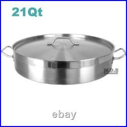 Low Stockpot 21Qt Commercial Grade Heavy Duty Gauge Stainless Steel Restaurant