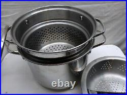 Martha Stewart Stainless-Multi Cooker 8 Qt Stockpot Pasta Steamer Insert 4pc Lid