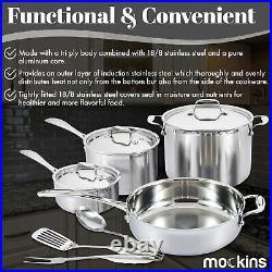 Mockins Premium Grade 10 Piece Stainless Steel Cookware Set Pots & Pans Tri-Ply