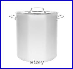 NEW 100 QT Full Polished Stainless Steel Stock Pot Brewing Kettle Large with Lid