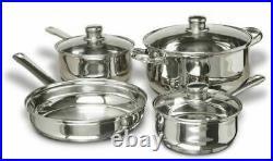 NEW 7 pc Stainless Steel Cookware Set Glass Lids Pan Pots Pans Classic Sauce NIB