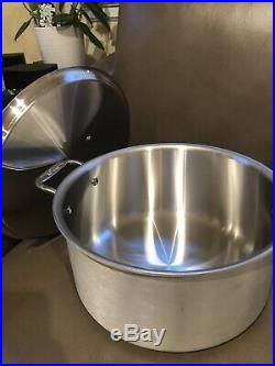 NEW ALL-CLAD Master Chef 8-QT STOCK POT withLID- 3-PLY BRUSHED STAINLESS