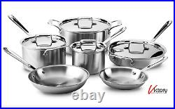 NEW All-Clad Brushed D5 Stainless Steel 10 Piece Pots & Pans Set BD5005710-R