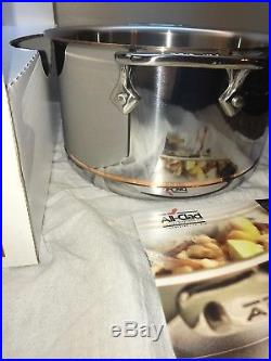 NEW All Clad COPPER CORE 4 Qt Stock Soup Pot withLid & Ladle 18/10 Stainless withBOX