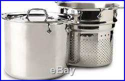 NEW All-Clad Stainless Steel 8 QT Pasta Pot Pentola with Insert FREE SHIPPING