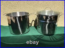 NEW Princess House Stainless Steel 20-Qt. Stockpot with Steaming Basket 5814