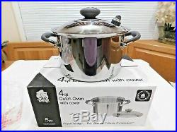 NEW ROYAL PRESTIGE 4 QT STOCK POT & USED LID T304 Surgical Stainless Waterless