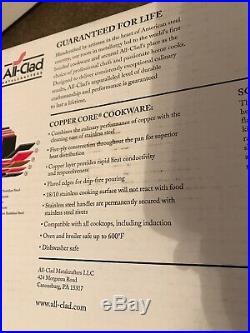 NEW in BOX ALL-CLAD Copper Core 4 Qt Quart Casserole SOUP Pan/Pot Lid Ladle USA