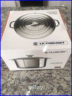 NIB Le Creuset Stainless Steel Mirror Finish Stock Pot 11 Qt 11 In $350