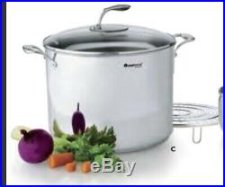 NIB Tupperware Chef Series Culinary Collection Stainless 20 Quart Stock Pot