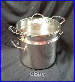 New! Princess House 8 Qt Heritage Stock Pot Steamer Strainer Lot Stainless Steel